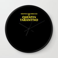 tarantino Wall Clocks featuring Written And Directed By Quentin Tarantino by FunnyFaceArt