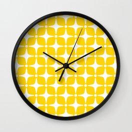Mid Century Modern Star Pattern Yellow 2 Wall Clock