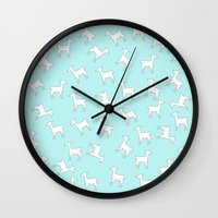 lama Wall Clocks featuring Lama Lama Lama by Monika Strigel