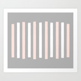 Simple Pink and White Stripes Art Print