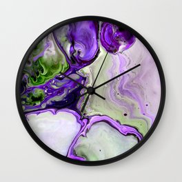 Colorful Purple Fluid Acrylic Pour Art - Digital Art Wall Clock