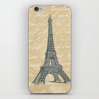 eiffel tower iPhone & iPod Skins featuring Eiffel Tower by Zen and Chic