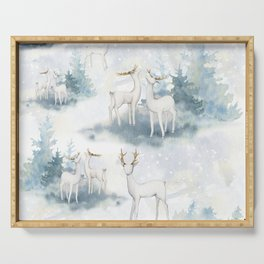 Snowy Winter Forest Serving Tray