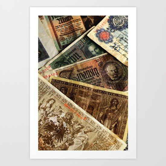 Old German money Altes Deutsches Geld Art Print