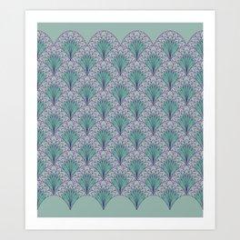 Shell Medallion green and purple layers Art Print