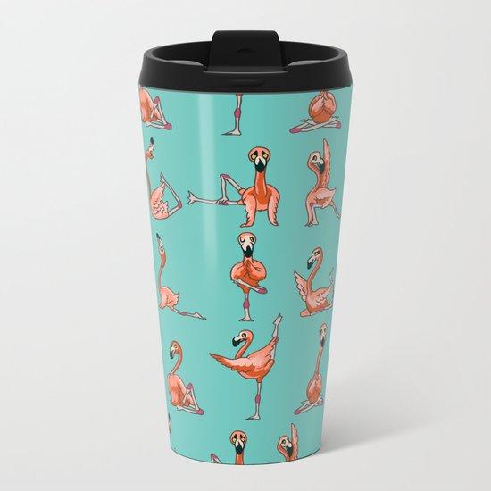 Flamingo Yoga Metal Travel Mug
