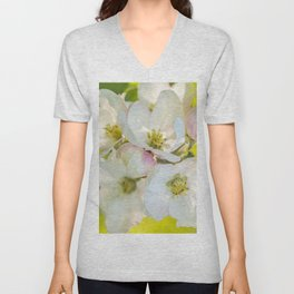 Close-up of Apple tree flowers on a vivid green background - Summer atmosphere Unisex V-Neck