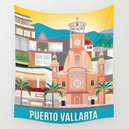 Puerto Vallarta, Mexico - Skyline Illustration by Loose Petals Wall Tapestry