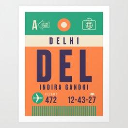 Retro Airline Luggage Tag - DEL Delhi India Art Print