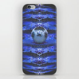 Disco Bee Hive Silver and Blue and Black iPhone Skin