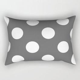 Large Polka Dots - White on Dark Gray Rectangular Pillow