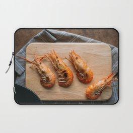 Grilled shrimps on wooden board Laptop Sleeve