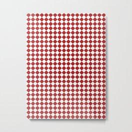 Small Diamonds - White and Firebrick Red Metal Print