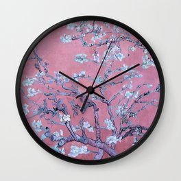 """Van Gogh's """"Almond blossoms"""" with pink background Wall Clock"""