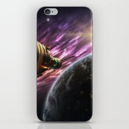 Space travel around planet iPhone Skin