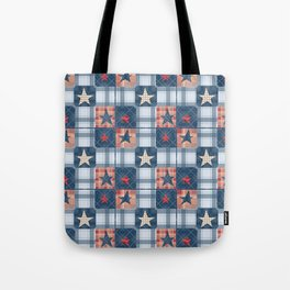 Blue denim plaid patchwork . Tote Bag