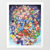 super smash bros Art Prints featuring SUPER SMASH BROS 4 by EB & JJ