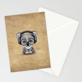 Cute Baby Koala Bear Dj Wearing Headphones Stationery Cards