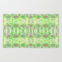 lime green Area & Throw Rugs featuring Lime Green Ikat by Caroline Sansone