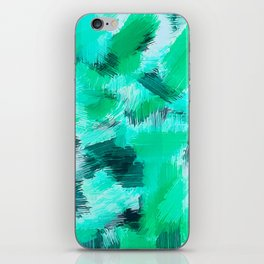 green blue yellow and black painting texture abstract background iPhone Skin