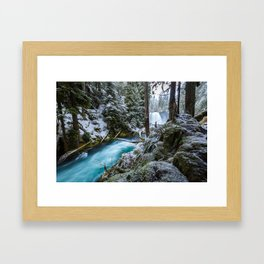 Blue River Waterfall Flows Through Snowy Forest Framed Art Print