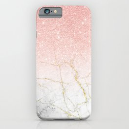 Rose Gold Glitter and gold white Marble iPhone Case