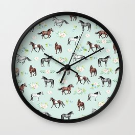 Floral Horse Pattern, Flowers and Horses, Hand Painted, Girl's Room, Romantic Blue Floral Wall Clock