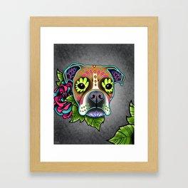 Boxer in White Fawn - Day of the Dead Sugar Skull Dog Framed Art Print
