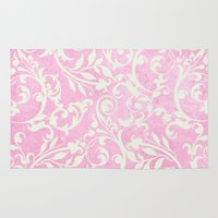 shabby chic Area & Throw Rugs featuring Shabby Chic pink damask by Miriam Hahn