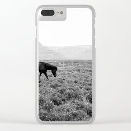 Black and White Horses - Iceland Clear iPhone Case