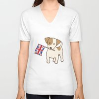 jack russell V-neck T-shirts featuring Jack Russell Terrier and Union Jack Illustration by Li Kim Goh