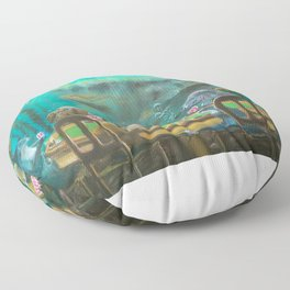 Pinnipeds Playing Poker Floor Pillow
