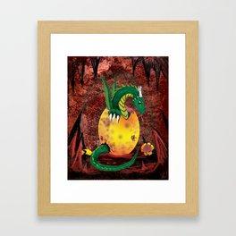 Dragon Cavern Hatchling - Digital Painting Framed Art Print