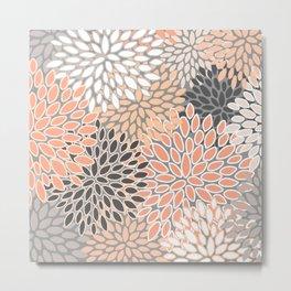 Modern, Flowers Print, Coral, Peach and Gray Metal Print