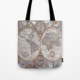 Vintage Map World Tote Bag