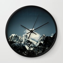 Dark Teal Mountain Peaks Wall Clock