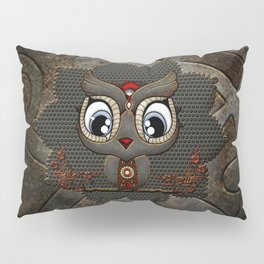 Cute little steampunk owl with floral elements Pillow Sham