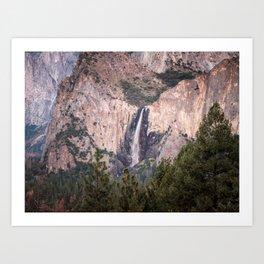 Sunset on Bridalveil Fall in Yosemite National Park Art Print