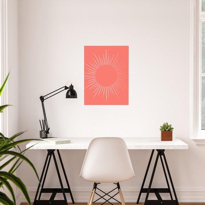 Living Coral Rose Gold Starburst Poster