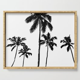 Monochrome tropical palms Serving Tray