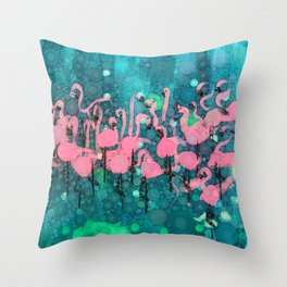 :: Flamingos Among Us :: Throw Pillow
