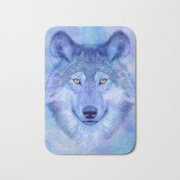 Sky blue wolf with Golden eyes Bath Mat
