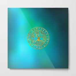 Tree of life  -Yggdrasil and  Runes alphabet Metal Print