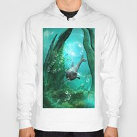 swimming Hoodies featuring Swimming dolphin by nicky2342