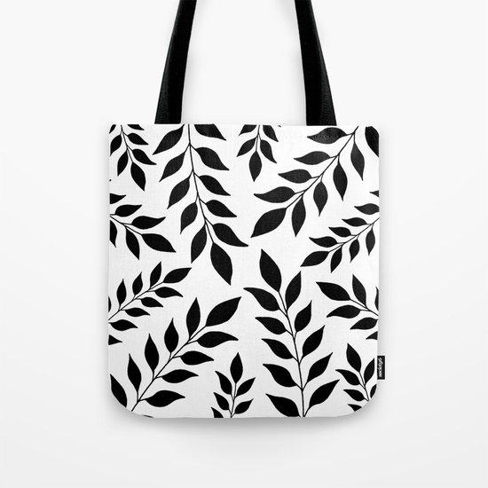 Black Leaves Pattern Tote Bag
