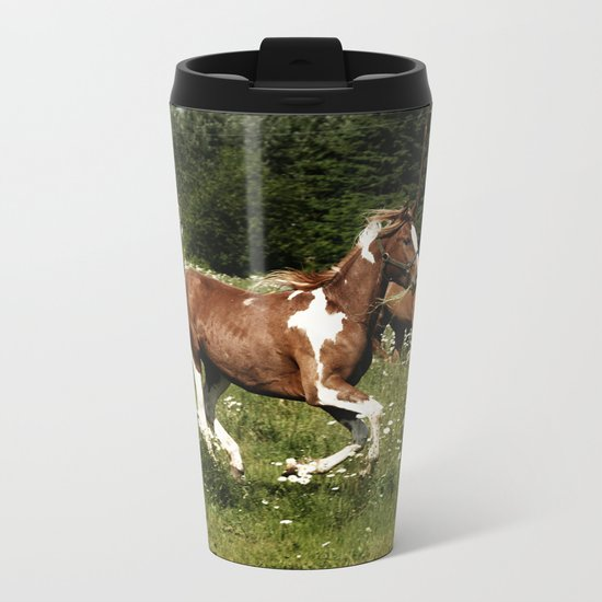 Spring Horse Run Metal Travel Mug