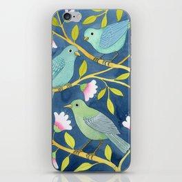 Three birds on indigo iPhone Skin
