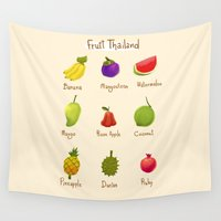 thailand Wall Tapestries featuring Fruit Thailand by paradon samapetch