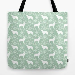 Golden Retriever floral silhouette dog silhouette mint and white minimal basic dog lover art Tote Bag