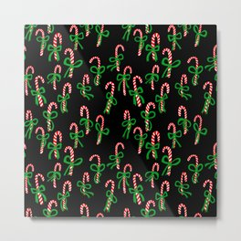 Candy Canes with Cute Bows on Black Metal Print